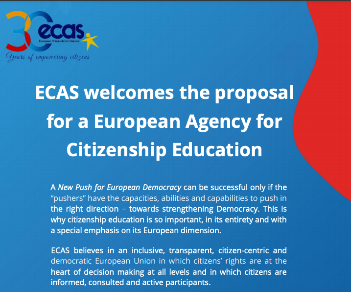 The European Citizen Action Service supports the proposal for a EACE