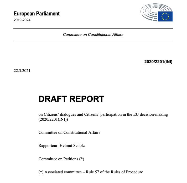 Contribution to the Report on Citizens' dialogues and Citizens' participation in the EU decision-making