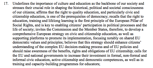 EP CULT Committee calls for a comprehensive European strategy on civic and citizenship education and supporting platforms